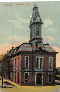 F40/ Greenfield Ohio Postcard c1910 City Hall Building