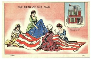 The Birth of Our Flag - Betsy Ross Home - Philadelphia PA Postcard