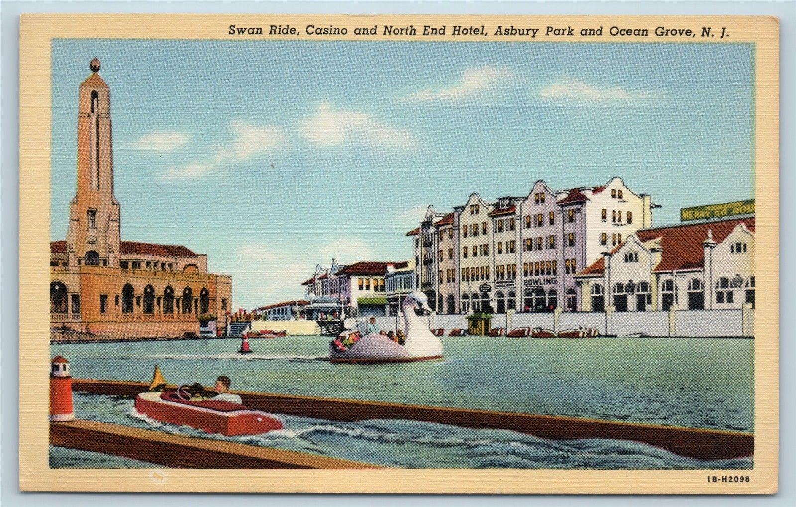 Postcard Nj Ocean Grove Asbury Park Swan Boat Rides Casino
