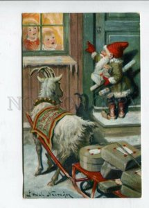 426986 RUSSIA Merry Christmas SANTA Goat carriage by Nystrom Vintage postcard