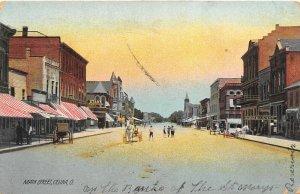 F59/ Celina Ohio Postcard 1909 Main Street Stores Kids Buggy
