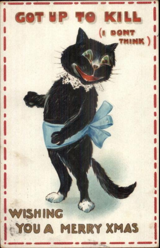 Christmas - Cute Black Comic Fantasy GOT UP TO KILL c1910 Postcard
