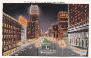 Michigan Detroit Washington Boulevard At Night