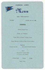 FURNESS LINES, R. M. S. Nova Scotia, 1948; Dinner Menu Card