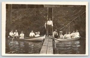 Sioux Falls Lake View IA~GW Hoty~Fella Shows off Fish~Boat Dock~Girls~1909 RPPC