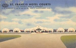Montgomery Alabama~St Francis Hotel Courts~Roadside Motel~1951 Linen Postcard