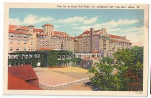 PA Buck Hill Falls Inn Entrance Pennsylvania Linen postcard