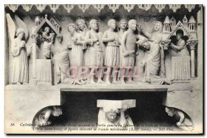 Postcard Old Cathedral of Reims Bas Relief occupying the left part of the Gat...