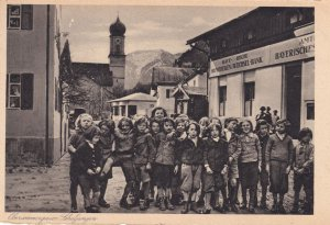 Oberammergau Germany Jungen Lassen School Children by Bank Old Postcard