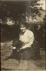 Woman & Her Dog c1915 Real Photo Postcard