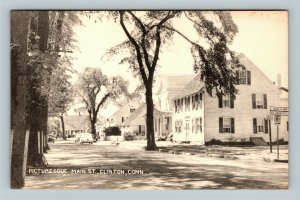 Clinton CT, View Of Main Street, Vintage Connecticut Postcard