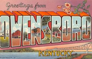 Owensboro Kentucky Large Letter Linen Antique Postcard K54617