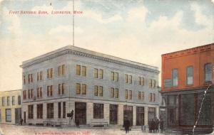 Ludington Michigan~First National Bank~Ladder on Corner~Dentists~1908 Postcard