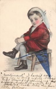 F19/ Dysart Iowa Pennant Postcard 1911 Boy Chair