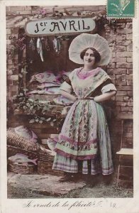 1er Avril April Fool's Day Woman With Fish 1910