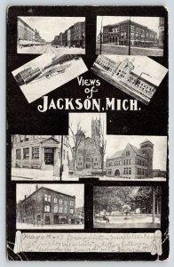 Jackson Michigan~Views of Jackson~Main Street~Downtown~Park~1907 B&W Postcard