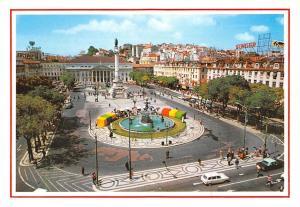 Portugal Lisboa Praca de D. Pedro IV (Rossio) D. Pedro Square Fountain Cars
