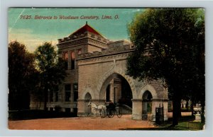 Lima OH, Woodlawn Cemetery Entrance, Horse And Carriage, Ohio c1913 Postcard