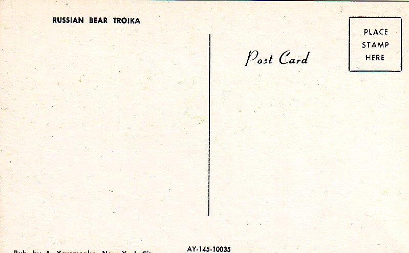P1294 vintage unused postcard russian bears troika pulling sled art card