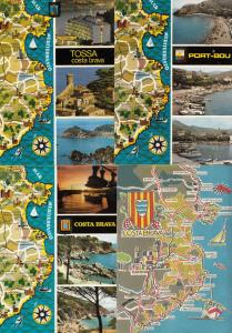 Tossa Port Bou 4x Costa Brava Spanish Map Postcard