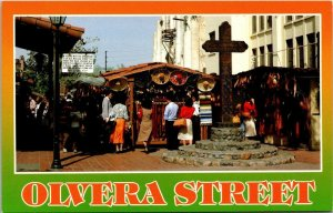 Vintage Postcard Olvera Street Los Angeles California LA Wooden Cross  918