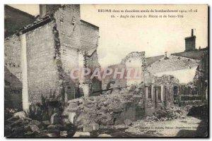 Old Postcard Militaria Reims Corner of Macon and Saint Yon