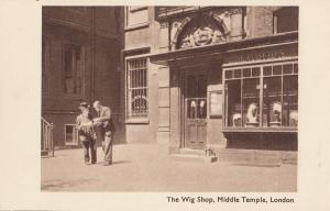 Pensioner Reading Map at Wig Shop Middle Temple London Old Postcard