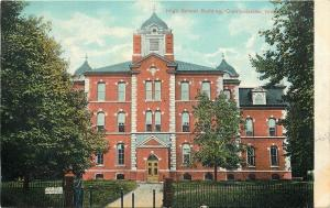 Crawfordsvile IN Wrought Iron Fence, Posts @ High School w/Domed Towers~c1910 pc