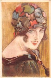 Glamour Woman, Lady, colorful mosaic kerchief, head scarf