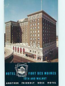 Unused 1950's FORT DES MOINES HOTEL Des Moines Iowa IA Q5770-14