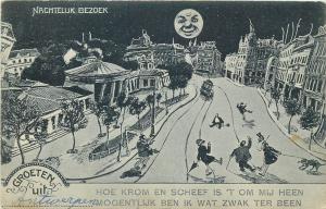 Groeten uit Antwerpen Nachtelijk Bezoek surrealism distorsion humanized moon