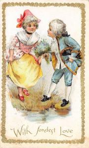 Valentine~Regency Couple~Boy Helps Girl Across Water~Bouquet~1910 Postcard