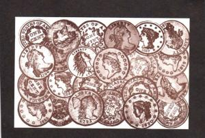 US Coins Coinage Money Copper Penny Pennies Liberty CENTS Postcard