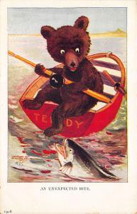 Artist M.D.S. Teddy Bear Boat Catching Fish Ullman Publisher Postcard