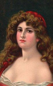 Vintage Postcard 1909 Victorian Lady Beautiful Woman Curly Long Hair Artwork