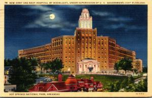 Arkansas Hot Springs New Army and Navy Hospital By Moonlight 1941 Curteich