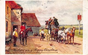 Wishing you a Happy Christmas, Horses Carriage Ride Postcard