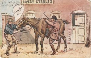 Livry Stables. Man mounting a horse Antique Tuck French Postcard