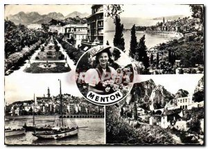 Postcard Modern M Menton Menton Garavan seen Gardens Old Town Garavan the Border