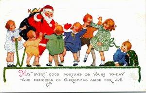 Postcard Santa Black Toy Bag Surrounded by Children 1928 L12