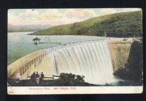SAN DIEGO CALIFORNIA SWEET WATER DAM ANTIQUE VINTAGE POSTCARD SWEETWATER