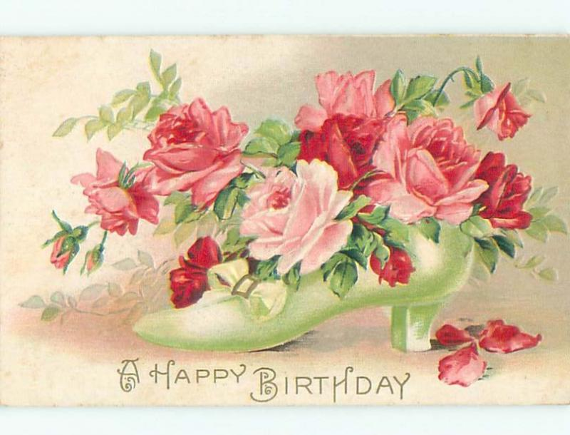 Pre-Linen ANTIQUE GREEN SHOE FULL OF ROSE FLOWERS W6960