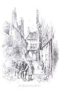 Postcard Art Sketch The Elephant Inn, Exeter, Devon G2