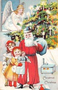 G3/ Santa Claus Christmas Postcard c1910 Kids Doll Tree Angel 20
