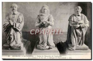 Old Postcard Bourges La Cathedrale Statue Hawthorn's Chancellor of his wife a...