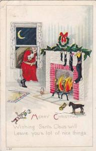 Santa Claus sneaking in through window, fireplace, stockings, Merry Christmas...