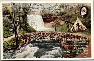 Longfellow, Where the Falls of Minnehaha, Bridge Tepee Tipi MN Postcard M09