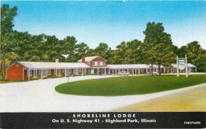 1950s Shoreline Lodge roadside Highland Park Illinois Direct Advertising 10959