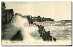 Old Postcard Saint Malo Furrow a Day Storm