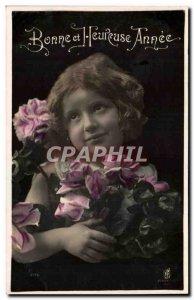 Old Postcard Fancy Girl Happy New year